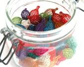 10 custom color wire crochet  beads in a pod shape