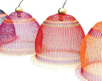 Wire weaved Lampshade in warm colors