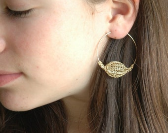 Gold hoop earrings with crochet bead-  Hoop earrings -  gold hoops  - Gypsy earrings - Tribal earrings- Gypsy bohemian fashion