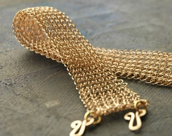 Bridal bracelet , wire crochet elegant bracelet in gold filled
