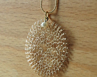 PEARL - Large knitted flower pendant necklace unique handamde wire crochet gold sunflower hanging pearl crochet fashion jewelry