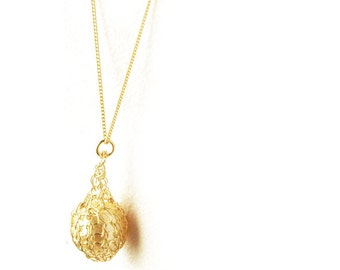 PEARL - small faux pearl gold pendant necklace, wire knitted bead on a chain, gold filled, ivory faux pearl June birthstone