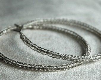 Large silver hoop earrings Extra large sterling hoops Gypsy jewelry Handmade earrings- Gypsy bohemian fashion