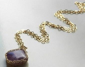 Amethyst necklace, Square gemstone pendant necklace, Large gemstone pendant, Unique Pendant, Wire crocht pendant, Lavender pendant necklace