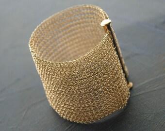 Bridal Jewelry WIDE CUFF bracelet crocheted gold wire crochet cuff unique bridal jewelry handmade cuff