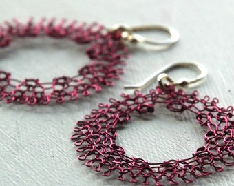 Violet vineyard dream catcher earrings - handmade wire crochet
