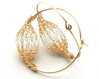 Gold hoop earrings Silver and Gold Crochet handmade beads ongold hoops - Gypsy bohemian fashion