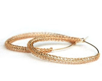 Rose Gold HOOP earrings - Large gypsy rose gold hoops Wire crochet jewellery Unique hoops Knitted hoops - gold hoops