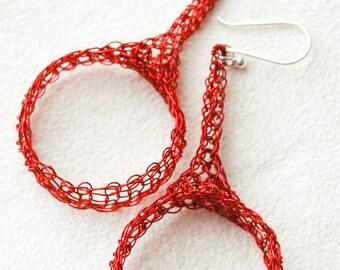 Wire crochet jewelry, wire crochet earrings , Red earrings , simple earrings, Ethnic crocheted  large  circle earrings in RED