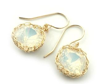 Swarovski crystal earrings, white dangle earrings, gold wire crochet