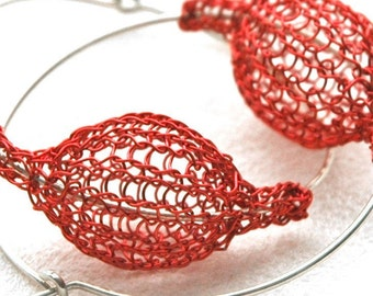 Red large hoop earrings -  contemporary Silver urban hoop earrings - red bubble jewelry- Gypsy bohemian fashion