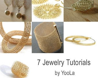 7 pdf JEWELRY wire tutorials lace ring, sunflowers, hoops, necklace,  beads, cuff and drop earrings , Instant digital download