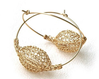 Gold hoop earrings crocheted wire urban light to wear bubble jewelry- Gypsy bohemian fashion