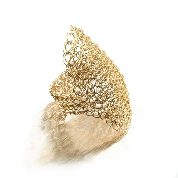 Cleopatra ring Wire crochet ring Statement ring Gold