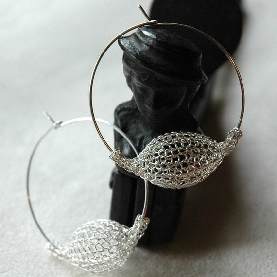 Silver Pod Hoop Earrings - Silver hoops - tribal earrings - Boho earrings - ethnic earrings- Gypsy bohemian fashion