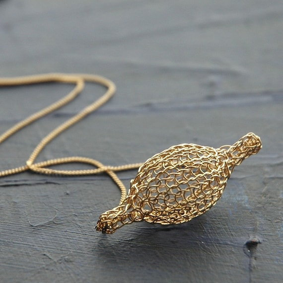 Crocheted gold filled Bubble pod necklace handmade wire work unique wire crochet jewelry knitted gold wire