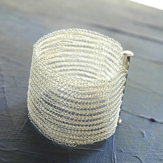 Silver cuff bracelet wire crochet cuff handmade glamourous jewelry high fashion wire crochet jewellery chic cuff tube clasp