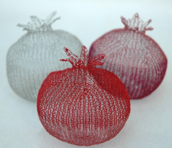 Valentine's day  , A Metal wire large crocheted pomegranate, great for house warming exquisite wire work sculpture
