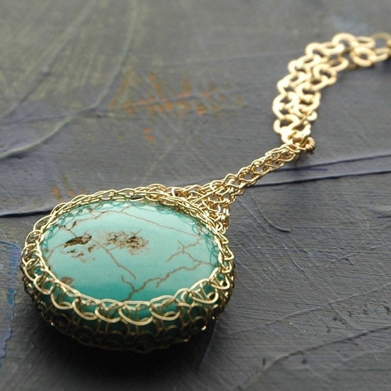 Turquoise pendant necklace wire crochet gold filled