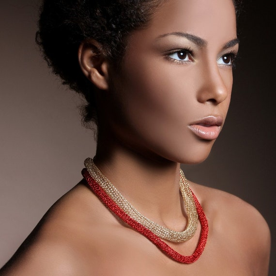 Layered necklace, YoolaTubeNecklace a Royal gold crochet short necklace, red gold necklace, modern necklace. Geometric Necklace