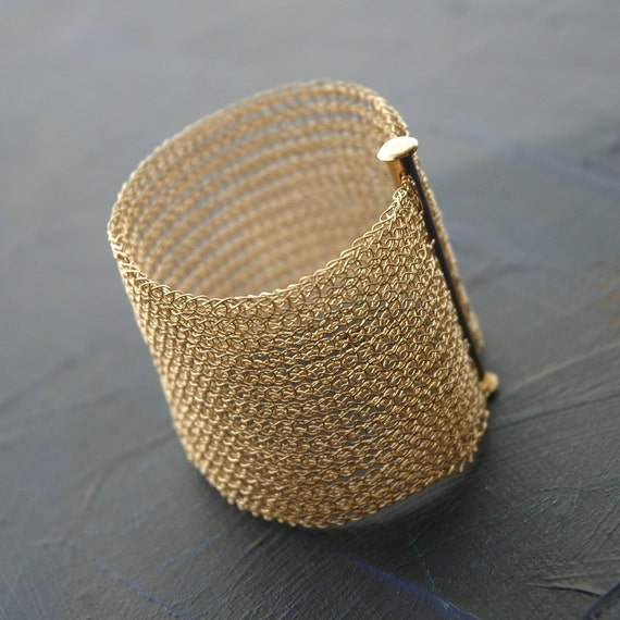 Knitting With Wire Instructions : Pdf pattern yoolacuff wide wire crochet cuff bracelet
