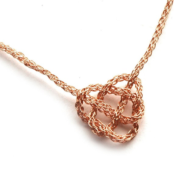 ROSE Gold necklace CELTIC Heart Knot - Rose Gold chain, Celtic Knot  , Romantic Necklace , I love You