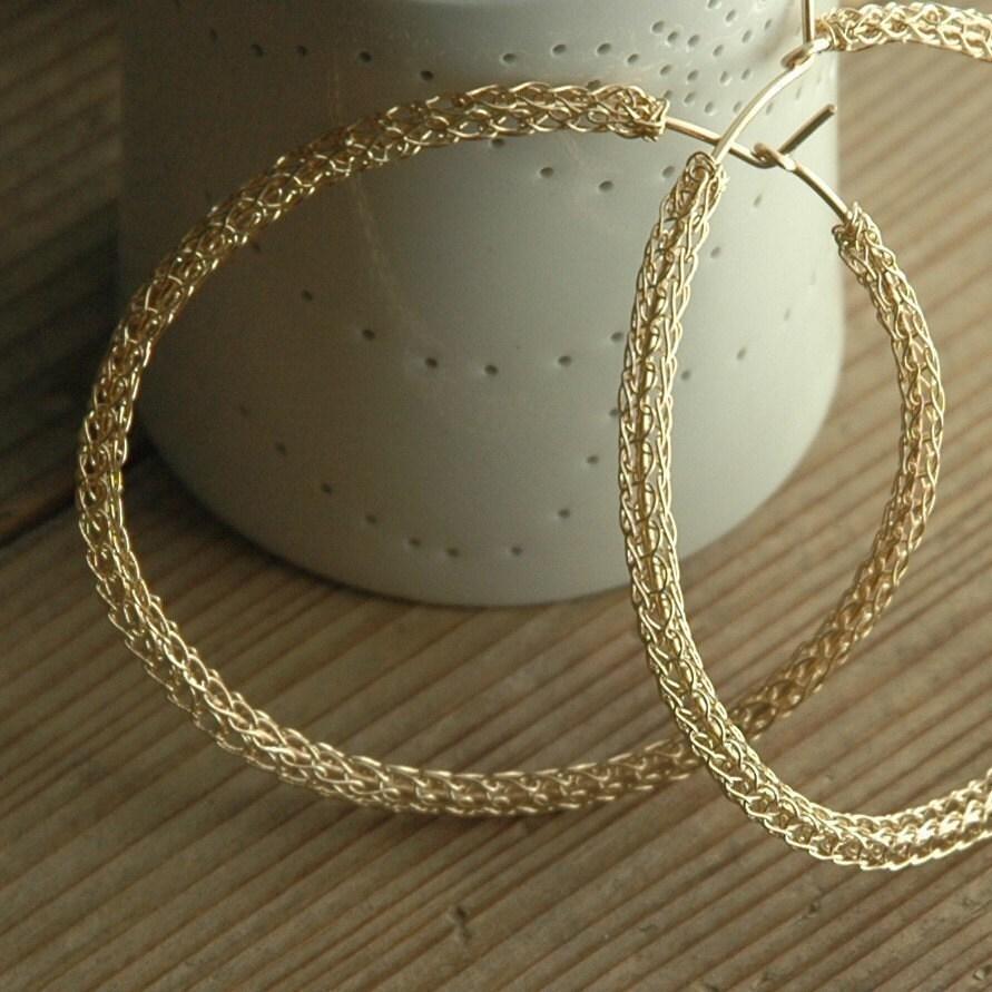 Gold Hoop earrings Wire crochet Earrings Extra large by Yoola