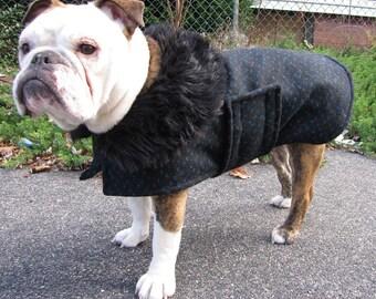 Classic Wool Coat for a Bulldog - to be custom-sized, custom-made