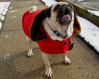 Fur and Fleece Jacket for a Pug - to be custom-made for your dog