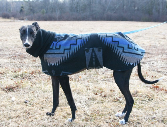 Blue, Gray and Black Wool Blanket Coat - to be custom-made for your Greyhound or other large dog