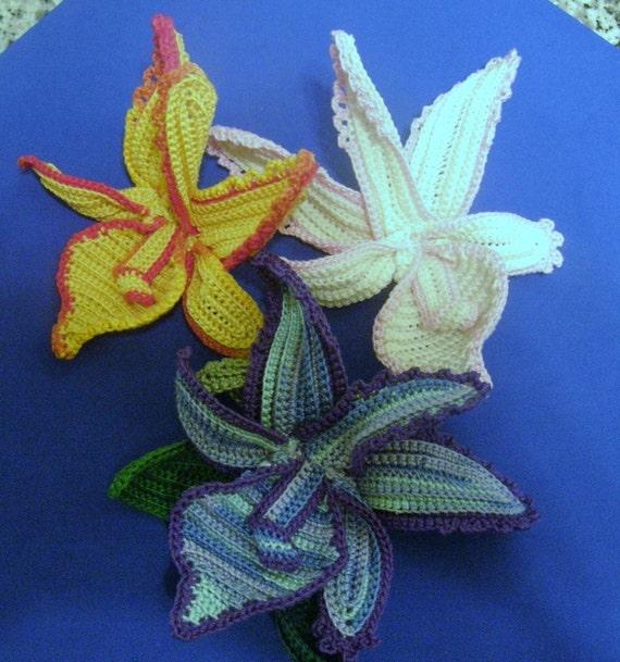 Free Crochet Pattern Orchidee : ?hnliche Artikel wie INSTANT DOWNLOAD Crochet Orchid in 3D ...