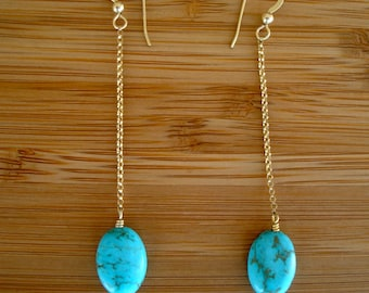 Bright Turquoise Drop Earrings