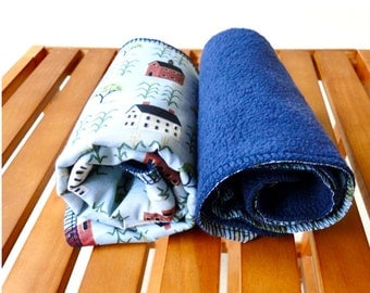 Large burp cloth set of 2 organic cotton fleece holiday gift idea
