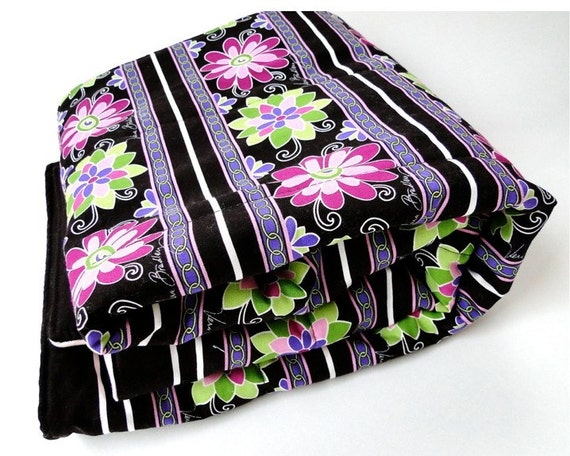 quilt baby toddler blanket throw - SALE - dark chocolate and pink wool and cotton