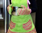 Handmade Apron, Kitchen Towels and Oven Mitts set -- Gothic Wave -- Patty Young fabric