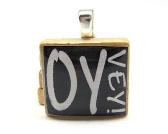 Hebrew Scrabble tile - Oy Vey - white on black