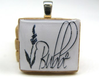 Bubbe - Grandma or Grandmother - Hebrew Scrabble tile - with sprig of lavender