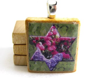 Star of David framing rhodies and lilacs - Scrabble tile pendant