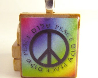 Shalom - Peace - Hebrew Scrabble tile pendant with peace sign on rainbow background