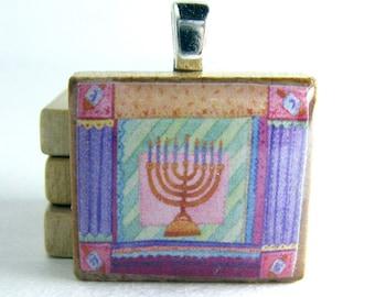 Chanukah - Hanukkah -  Scrabble tile pendant - Menorah and dreidels
