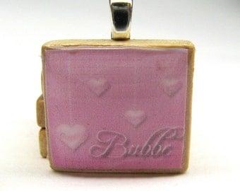 Hebrew Scrabble tile - Bubbe - Grandma or Grandmother - dangling pink hearts