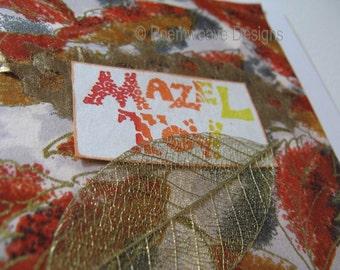 Mazel Tov - Congratulations - gold card with leaf