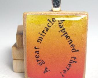 Chanukah - Hanukkah -  Scrabble tile pendant - miracle flame