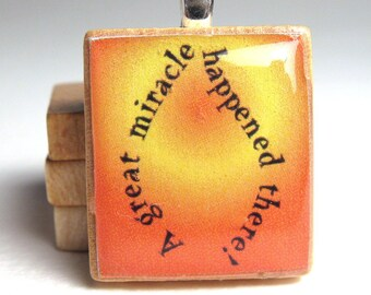 Chanukah - Hanukkah -  Scrabble tile pendant - miracle flame source