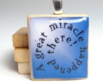 Chanukah - Hanukkah -  Scrabble tile pendant - miracle spiral in blue