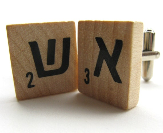 Hebrew Scrabble tile cuff links with your initials