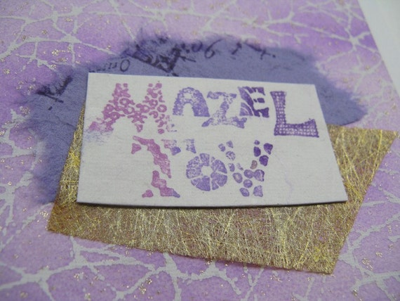 Mazel Tov - Congratulations - handmade card in lavender and pink