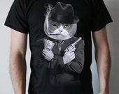 Al Catone - American Apparel Mens / Unisex t shirt   ( Cat t shirt , Al Capone, Gangster mens t shirt )