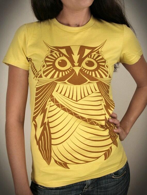 Samurai Owl - Organic Cotton Womens t shirt printed with ECO ink ( Owl t shirt )