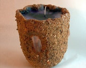 Small 50hour 5inch Sand Candle with 3 quartz crystals